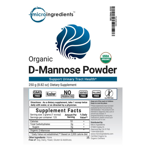 Micro Ingredients Organic D-Mannose Powder 8.8 oz.