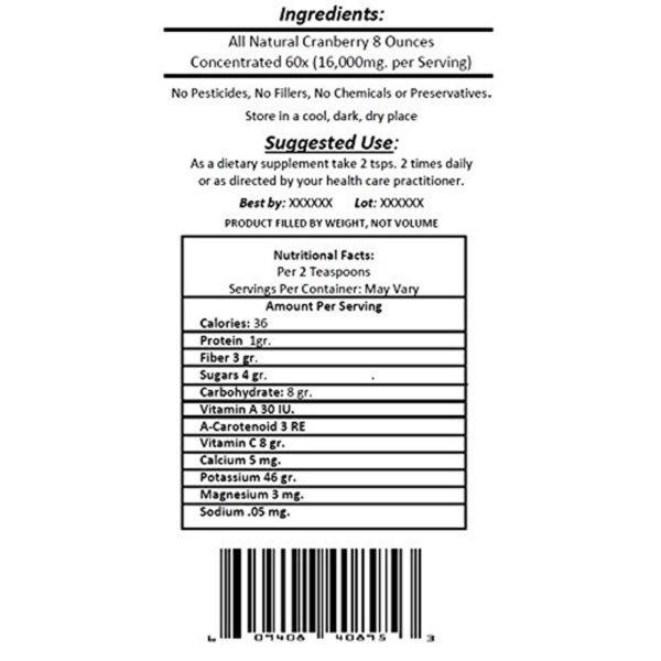 Nutra Naturals Pure Cranberry Powder x60 8-16 oz.