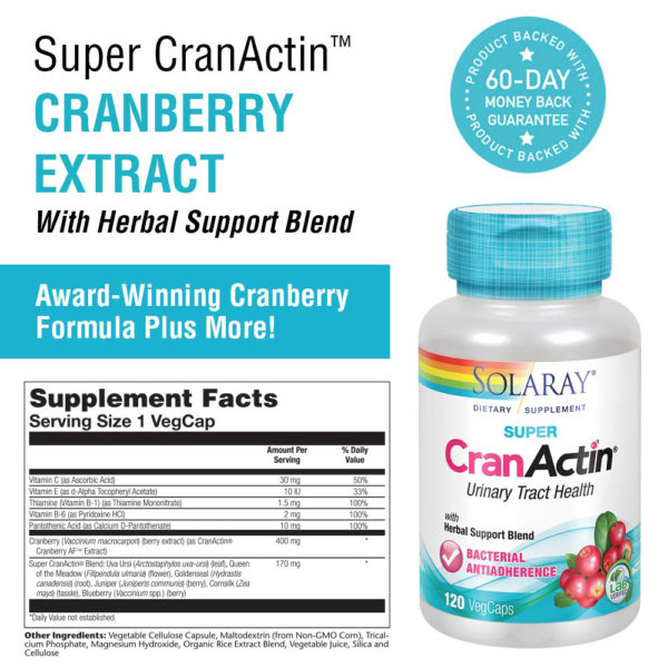 Solaray Super CranActin Cranberry AF 60-120 Caps