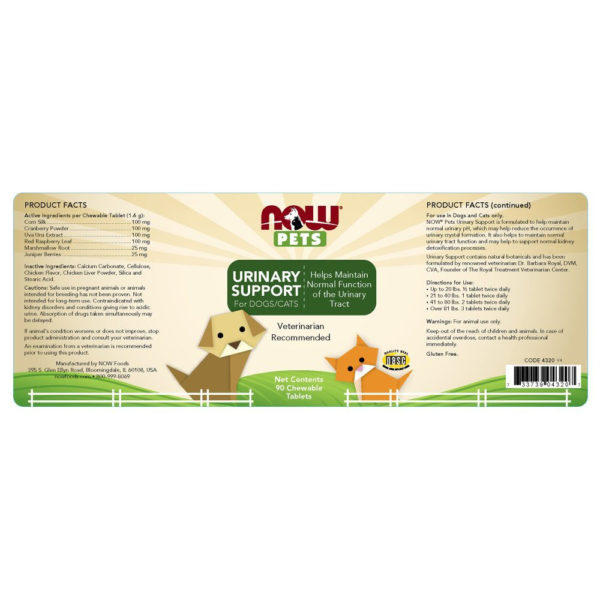 NOW Pets Urinary Support Cranberry Dogs/Cats 90 Chews