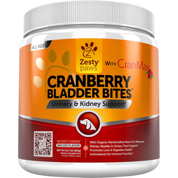 Zesty Paws Cranberry Bladder Bites for Dogs 90 Chews