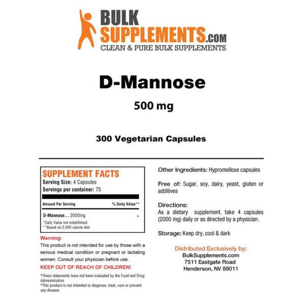 BulkSupplements D-Mannose Capsules 100-300 Veg Caps