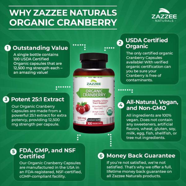 Zazzee Naturals Organic Cranberry Extract 100 Veg Caps
