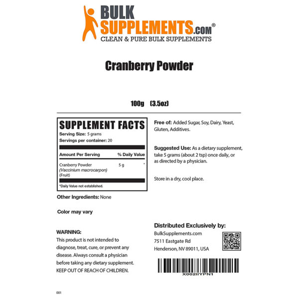 BulkSupplements Cranberry Powder 3.5 oz. - 55 lbs.