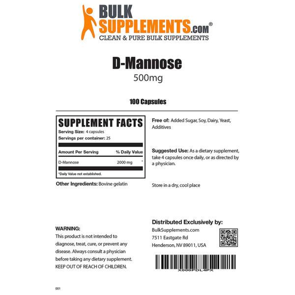BulkSupplements D-Mannose Caps 100-300 Gelatin Caps