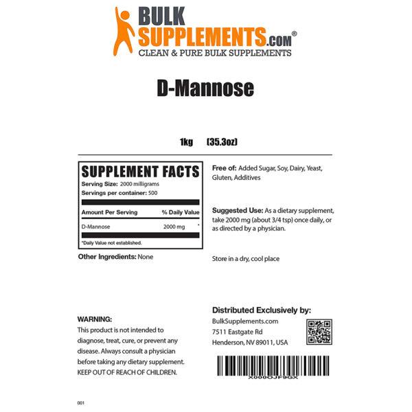 BulkSupplements D-Mannose Pure Powder 3.5 oz - 55 lbs