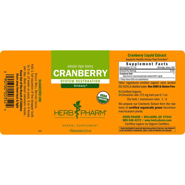 Herb Pharm Organic Cranberry Extract Liquid 1-4 oz.