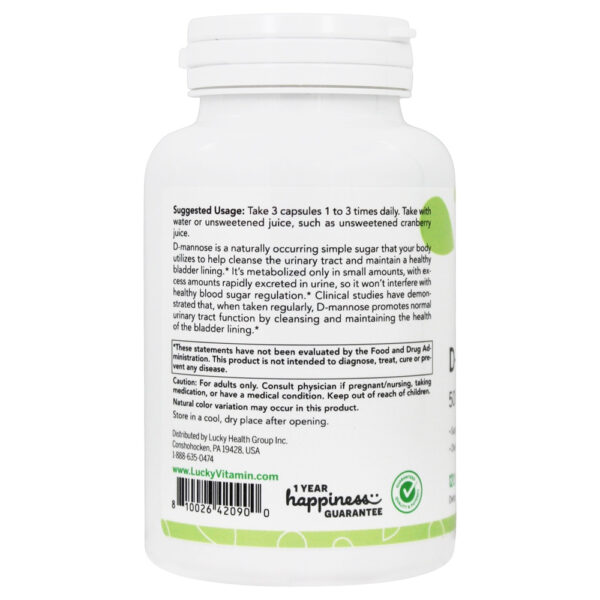 Lucky Vitamin D-Mannose Capsules 120 Veg Capsules