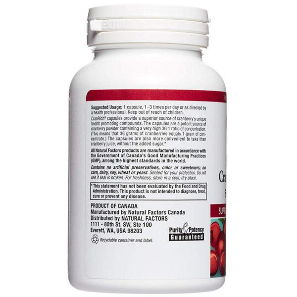 Natural Factors CranRich Cranberry 90-180 Capsules