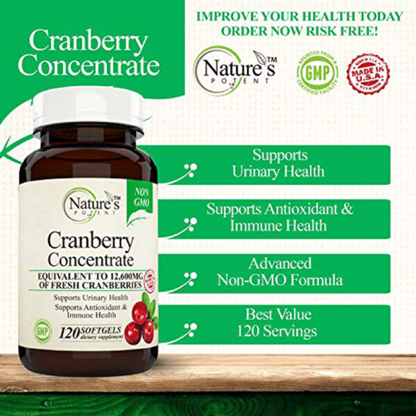 Nature's Potent Cranberry Concentrate 120 Softgels